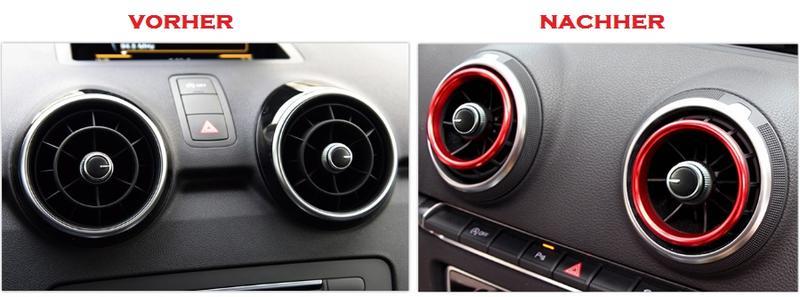 Ventilation Anneaux Audi a3 s3 q2 Ventilation Buse ZIERRINGE anneaux Bleu