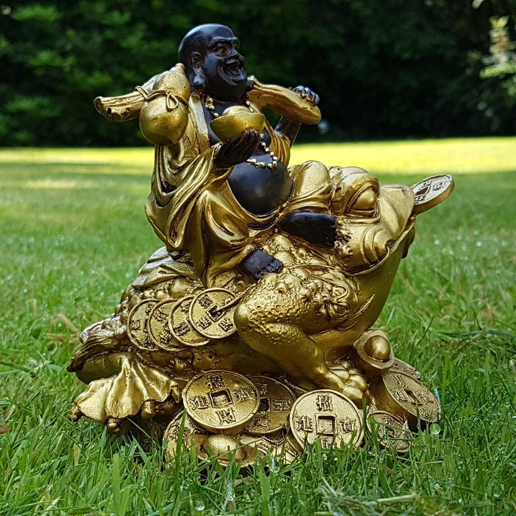 Happy Buddha Auf Frosch Deko Figur Feng Shui Statue Budda