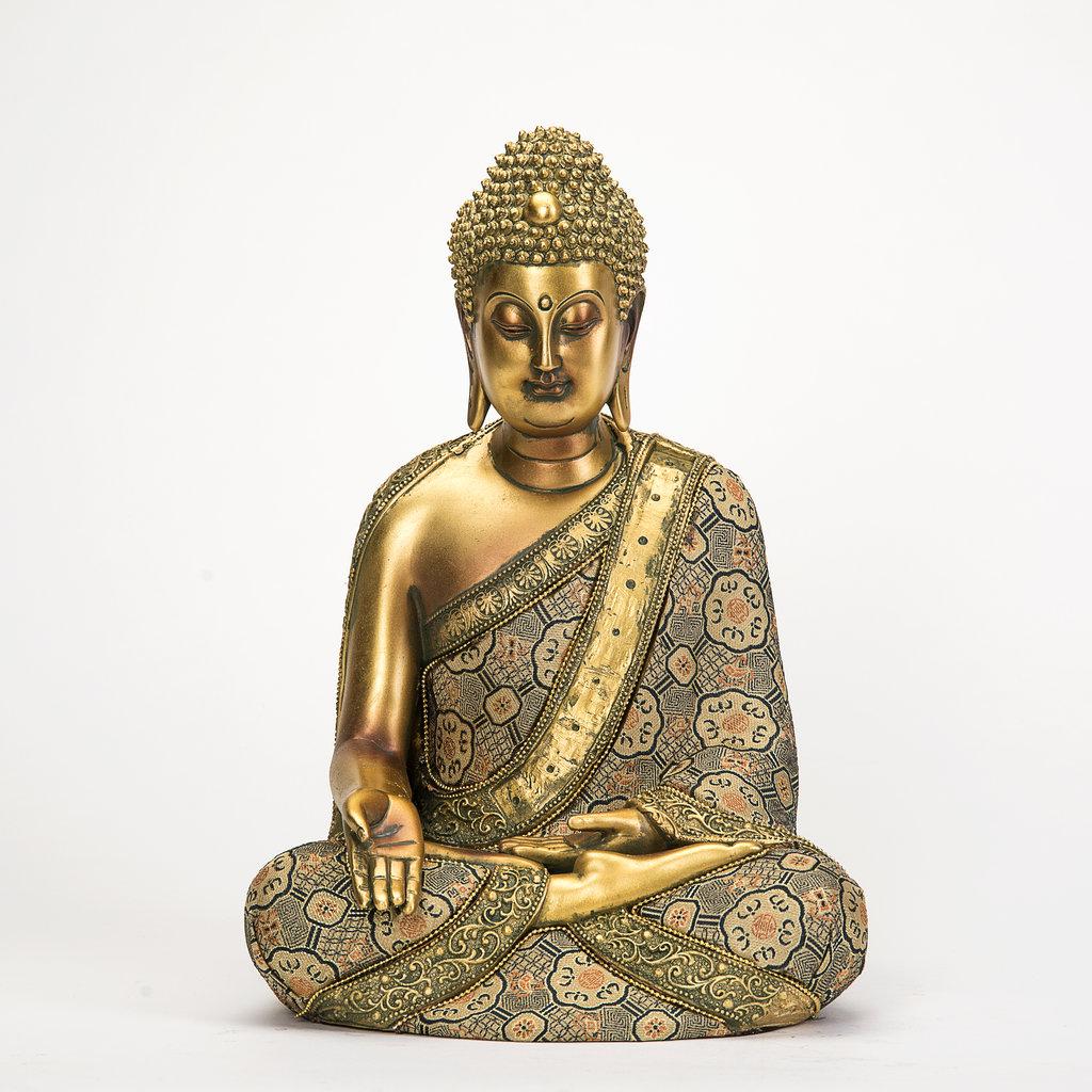 thai buddha deko figur buddhismus skulptur budda statue feng shui gl ck joga ebay. Black Bedroom Furniture Sets. Home Design Ideas