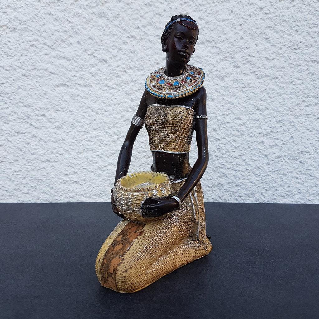 afrikanische frau deko figur teelichthalter afrikanerin afrika massai zulu himba ebay. Black Bedroom Furniture Sets. Home Design Ideas