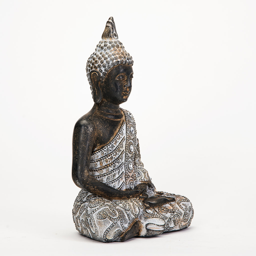 thai buddha deko figur buddhismus statue budda skulptur feng shui gl ck joga ebay. Black Bedroom Furniture Sets. Home Design Ideas