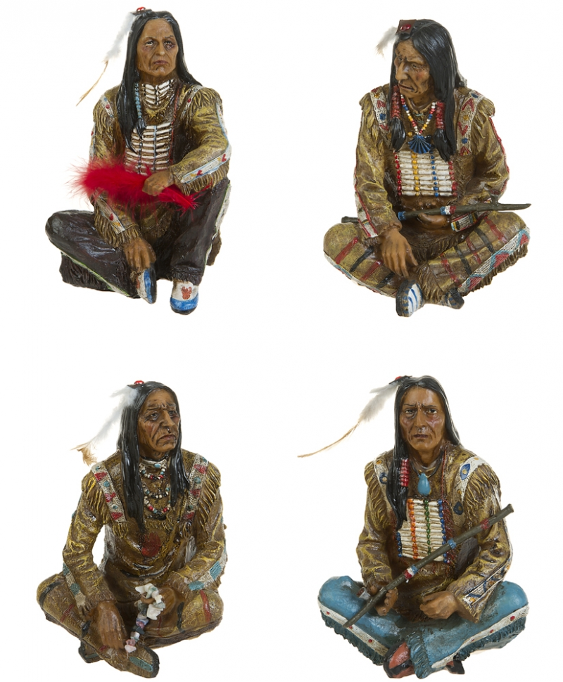 set 4 stk indianer sitzend deko figur statue western wilder westen sioux apache ebay. Black Bedroom Furniture Sets. Home Design Ideas