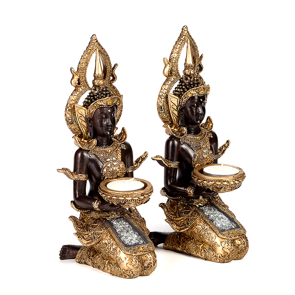 set thai buddha deko figur teelichthalter budda skulptur feng shui statue joga 782298519562 ebay. Black Bedroom Furniture Sets. Home Design Ideas