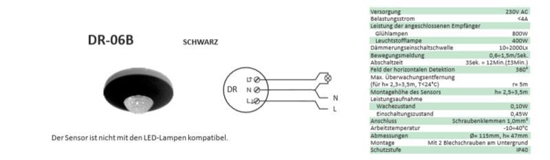 F/&F DR-06B Bewegungsmelder mit Dämmerungsschalter Infrarot 360 Grad Detektion