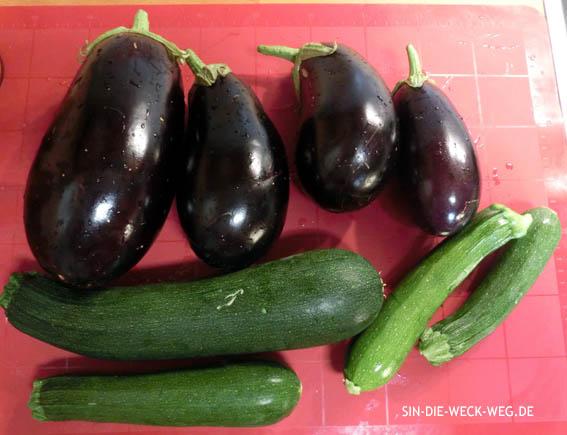 Eingelegte Auberginen +  Zucchini, gegrillt