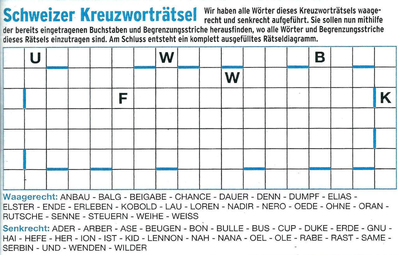 Daddy 0320:Schweizer Kreuzwort Rätsel>>>GEL.VON WERNER 34350722jt