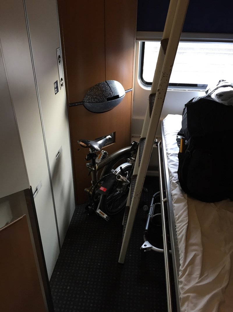 22516d9f577 3. Brompton in various travel-situations with smaller and bigger luggage  including carrying a Brompton hard case and taking it with me into a  sleeper on a ...