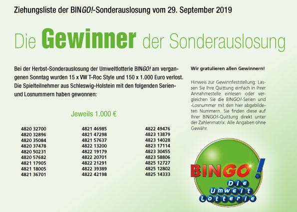Bingo Umweltlotterie Spielregeln