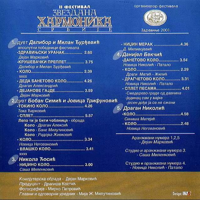 2 Festival Zvezdana Harmonika Srbije 2001 - Diskos CD9 5115 37256170ui