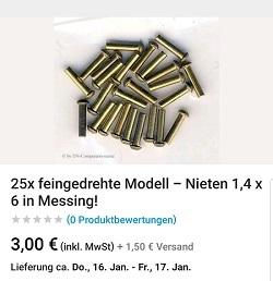 25x feingedrehte Modell Nieten 1,4 x 6 in Messing!