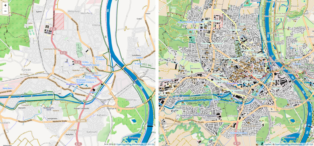 Vergleich OSM 04/2010 02/2020 Rosenheim