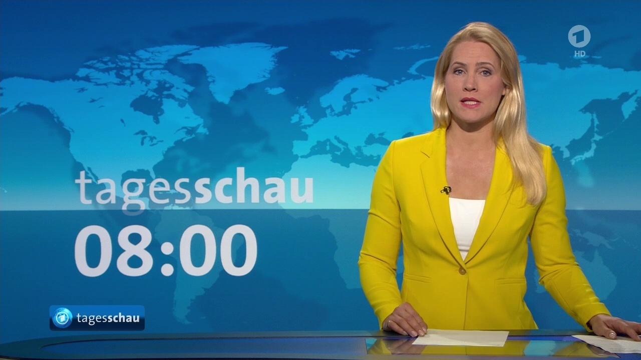 Judith Rakers bei der 'Tagesschau' im Ersten morgens am 11.06.2020 - kleine Fernsehseite - der ...